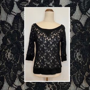 Pagani floral see through lace 3/4 sleeve top 8-10